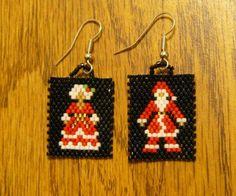Handmade Beaded Postage Stamp Mr. & Mrs. Santa Clause Earrings