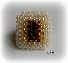 Beige gold brown cocktail ring Statement beadwork ring by Szikati
