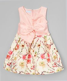 Look at this Just Couture Pink Floral Bow Sleeveless Dress - Infant, Toddler & Girls on #zulily today!