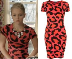 The Carrie Diaries season 2: Carrie Bradshaw's (AnnaSophia Robb) Topshop Cutout Back Leopard Print Dress in Orange/Pink #getthelook #tcd #thecarriediaries
