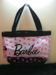 new Barbie Doll tote bag purse clear pink black bag x-large pop culture book bag | eBay