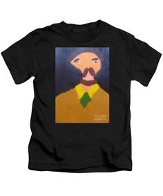 Patrick Francis Designer Kids Black T-Shirt featuring the painting Portrait Of Eugene Boch - After Vincent Van Gogh by Patrick Francis