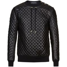 Balmain Quilted Leather Jumper (€3.070) ❤ liked on Polyvore featuring men's fashion, men's clothing and men's sweaters