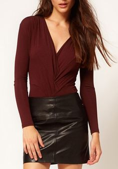 Love this look! Dark Red V-neck Long Sleeve Skinny Spandex T-Shirt #sexy #leather #fashion