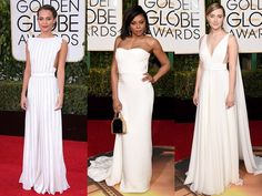 FASHIOn WORLD NEWS 11.1.2016....RED CARPET Trends....From left: Alicia Vikander, Taraji P. Henson, and Saoirse Ronan