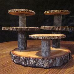 Multi level Reclaimed Wood Cupcake Stand for rustic weddings