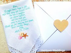 Mother FREE matching gift envelope from BRIDE beach Wedding heirloom handkerchief custom embroidered personalized hankie gift embroidery mom, $30.00