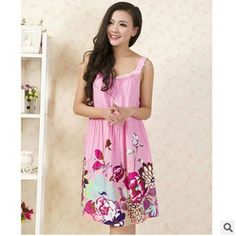 Elegant nightgowns vintage print indoor clothing sexy spaghetti strap night gowns ladies sleepshirts dressing gowns for women