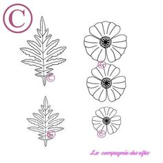 coquelicots et feuilles - tampons nm