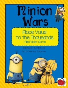 Practice place value with the Minions! If your students love Minions like mine do they will enjoy this game. There are 2 different file folder games to make. One that goes to the hundreds and one that goes to the thousands.