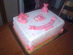 White-pink fondant cake for Christening