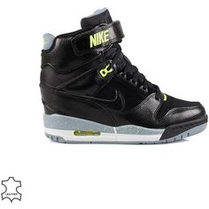 Nike Wms Air Revolution Sky Hi ($170) ❤ liked on Polyvore featuring shoes, sneakers, 44. wrestling shoes., black, everyday shoes, womens-fashion, velcro sneakers, black lace up shoes, high heel shoes and high heel sneakers