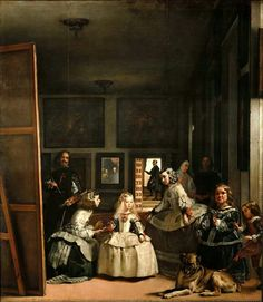 Las Meninas (Spanish for The Maids of Honour) by Diego Velázquez (1656). It is one of the most widely analyzed works in Western painting. The mirror in the background reflects the upper bodies of the king and queen. They appear to be placed outside the picture in a position similar to that of the viewer, although some scholars have speculated that their image is a reflection from the painting Velázquez is shown working on. (Wikipedia)