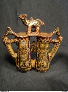 ANCIENNE GARGOULETTE TERRE CUITE ZOOMORPHE POTERIE BERBÈRE IDEQQI ALGÉRIE KABYLIE ALGERIAN POTTERY - Art Africain