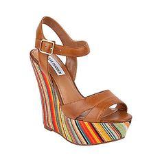 WIINNER COGNAC LEATHER women's sandal high wedge - Steve Madden $109