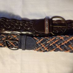 1e58a2c98b49 2 Lot of Women's Braided Brown and Pink / Blue belts faux leather SIZE 9 #