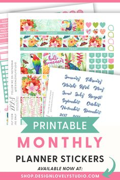 Looking for planner stickers for your Erin Condren Life Planner? Download your Tropical Jungle Printable Planner Stickers Kit now! This printable stickers kit includes Silhouette and Cricut cut files so you can create your planner layouts with ease. Grab your digital planner stickers now. #erincondrenplannerstickers #erincondrenplannerlayouts #eclpstickers #summerplannerstickers #tropicalplannerstickers Planner Tips, Planner Layout, Monthly Planner, Happy Planner, Vacation Planner, Printable Planner Stickers, Erin Condren Life Planner, Sticker Shop, Sticker Paper