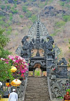 Entrance portal to Agung Temple in Bali, Indonesia