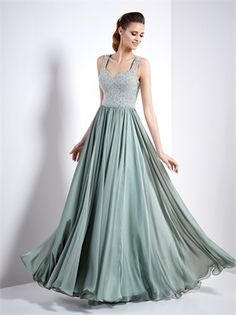 A-line off shoulder v-neck sage chiffon lace open back Pronovias Cocktail  dresses 1b21b878636