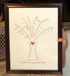 Handwritten Family Tree Gift For Grams 70th Birthday Inspired By Another Pin I Saw On