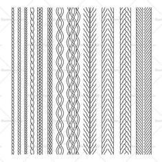 Cable Brush Pattern Library – Templates for Fashion Flat Drawings, Flat Sketches, Blackwork, 1 Tattoo, Band Tattoo, Celtic Patterns, Celtic Designs, Border Pattern, Pattern Design