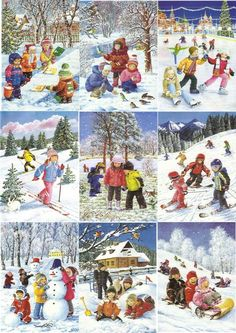 Времена года. Зима Winter Images, Winter Pictures, Christmas Pictures, Christmas Art, Christmas Scenes, Vintage Christmas, Four Seasons Art, Sequencing Pictures, Little Einsteins