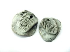 Artisan Ceramic Stoneware Bead discs feather by greybirdstudio, £10.00