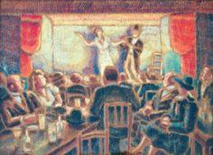 Pierre DE BELAY (1890-1947) Au cabaret - Bruxelles, 1942Gouache treilliste