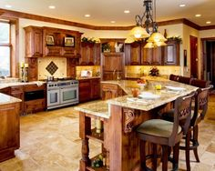 Island shape-love all the extra seating since guests always congregate into the kitchen anyways!