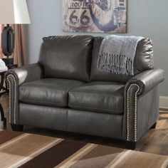 Lottie Durablend Transitional Bonded Leather Match Twin Sofa Sleeper With Memory Foam Mattress By Signature Design Ashley At Ivan Smith Furniture