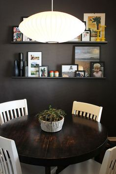 really like this idea for a dining room: wall color is great, with dark wood table and light color chairs Apartment Living, Apartment Therapy, 1st Apartment, Condo Living, Apartment Ideas, Dark Table, Living Colors, Small Dining, Kitchen Decor