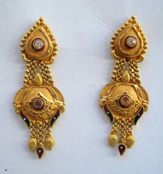 Items similar to traditional design gold earrings ear plug handmade jewelry rajasthan india on Etsy Gold Mangalsutra Designs, Gold Earrings Designs, Gold Jewellery Design, Gold Jhumka Earrings, Gold Drop Earrings, Silver Anklets, Sterling Silver Bracelets, Ear Jewelry, Gold Jewelry