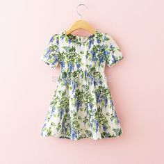 Find More Dresses Information about Lavender printing short  sleeve girls dress 6pcs/lot,High Quality girls bow dress,China dresses baby girl Suppliers, Cheap girl group from Leader international trade company on Aliexpress.com