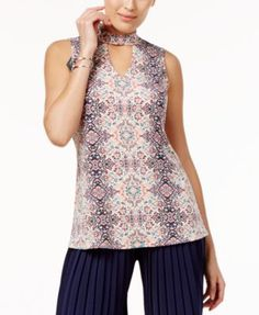 Ny Collection Printed Choker Top - Pink Palm Leaf Print XS