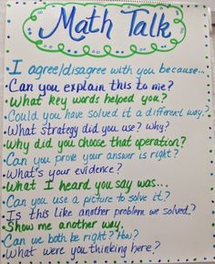 MRS. MCFADDEN'S CLASSROOM BLOG: Math Talks