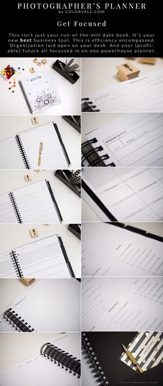 Get Focused - This isn't just your run-of-the-mill date book. It's your new best business tool. This is efficiency encompassed. Organization laid open on your desk. And your (profitable) future all focussed in on one powerhouse planner.  GET IT HERE:  http://www.colorvaleactions.com/photography-planner