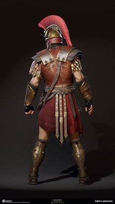 My name is Sabin Lalancette and I'm a member of the Character Production Team for Assassin's Creed Odyssey at the Québec Studio. Armadura Medieval, Character Concept, Character Art, Character Design, Character Outfits, Rogue Assassin, Roman Warriors, Greek Warrior, Assassins Creed Odyssey
