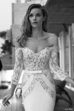 lihi hod wedding dresses 2015 bridal strapless  sweetheart neckline lace three quarter long sleeves sheath gown style alice zoom -- Lihi Hod 2015 Wedding Dresses