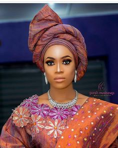 Side-Twisted Fan Gele [Pictures]: 6 Hot Gele Styles to Try on Your Next Aso-ebi Outfit (Gele Divas African Attire, African Wear, African Fashion Dresses, African Women, African Dress, African Beauty, African Hair Wrap, African Head Wraps, Hair Wrap Scarf
