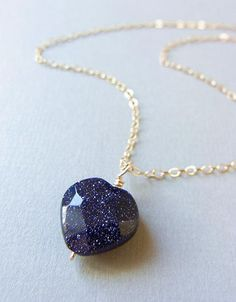 Blue Goldstone Heart Necklace by CocoroJewelry on Etsy