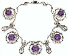 amethyst necklace | gorgeous diamond necklace with large, deep Royal Purple hexagonal ...