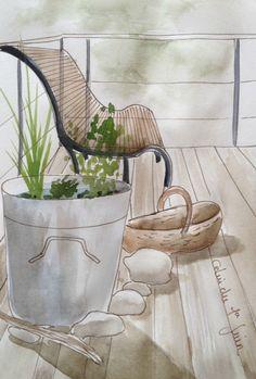 croquis, dessin, jardin, terrasse