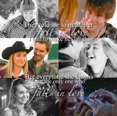 """""""They told me to make her fall in love, I had to make her laugh. But everytime she laughs, I am the only one who falls in love. Amy And Ty Heartland, Heartland Quotes, Heartland Ranch, Heartland Tv Show, Ty Y Amy, Real Country Girls, Amber Marshall, Want To Be Loved, Country Quotes"""