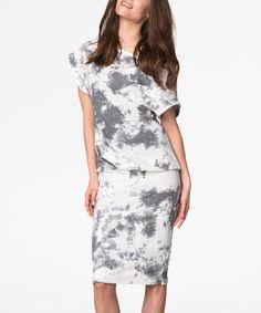 This Gray & White Splatter Blouson Dress by Peperuna is perfect! #zulilyfinds
