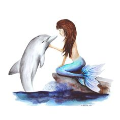 Mermaid and Dolphin Portrait