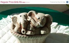 HOLIDAY SALE Elephant Twins Ceramic Planter by Donellensvintage