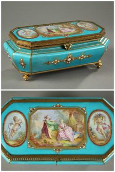 French late 19th century light blue porcelain casket