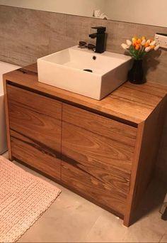 Freestanding Messmate timber vanity Timber Vanity, Bed Design, House Ideas, Bathroom, Washroom, Wood Vanity, Bath Room, Bath, Bathrooms