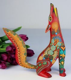 Oaxacan wood carving jacobo angeles howling coyote oaxaca for Oaxaca mexico arts and crafts