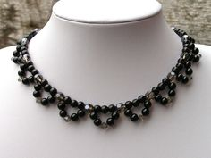 Beadwork Necklace, Choker Necklace, Black Necklace, Formal Necklace, Glass Bead…